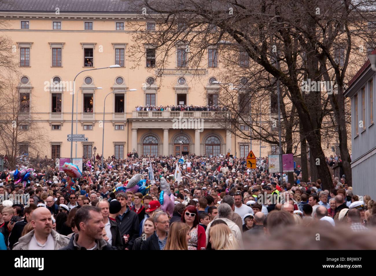 Student festival, Uppsala, Sweden outside Carolina Rediviva. Stock Photo