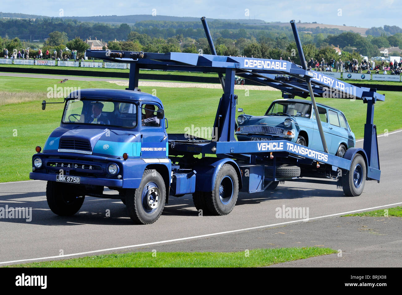 1964 Thames Trader Car Transporter Carrying a Ford Anglia Stock ...