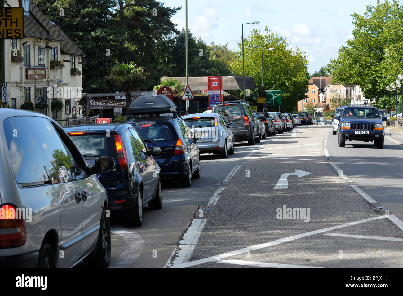 Traffic congestion at Hindhead traffic lights on the A3 trunk road in Surrey, September 2010, before the opening - Stock Image