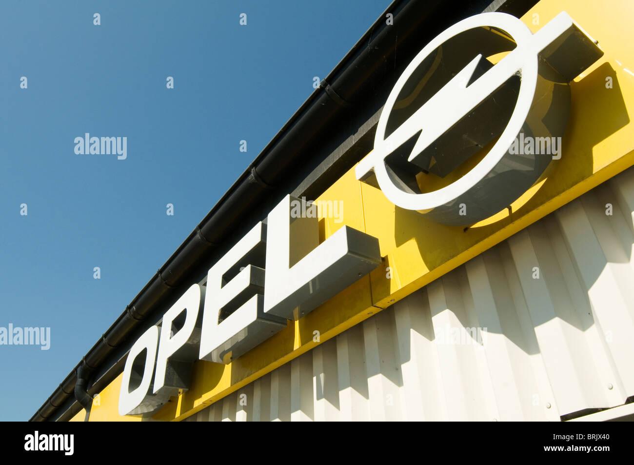 opel car dealership dealer dealerships gm general motors brand branding branded german germany maker manufacturer - Stock Image