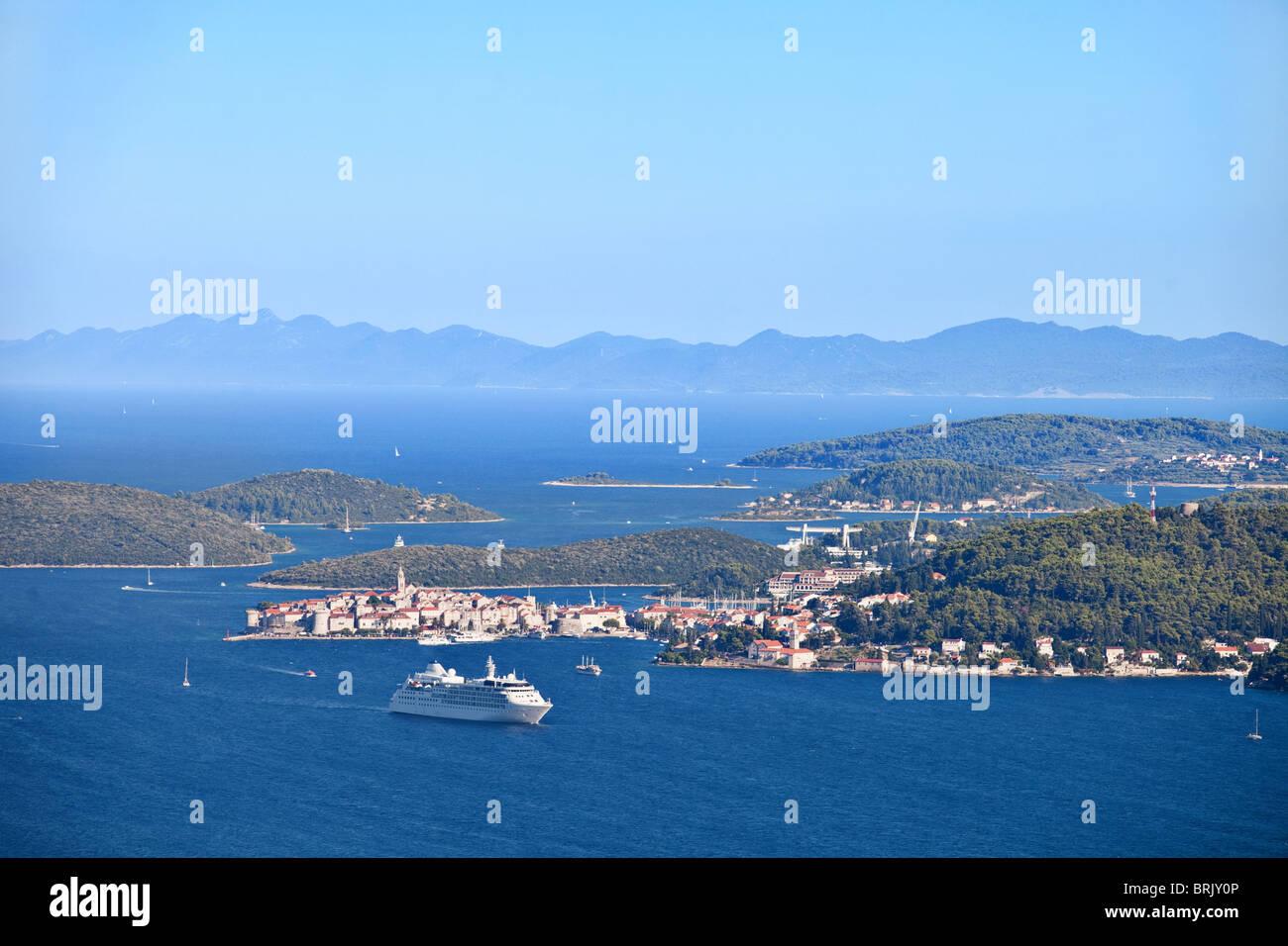 Aerial view of Korcula, Peljesac peninsula, Dalmatian coast, Croatia. - Stock Image