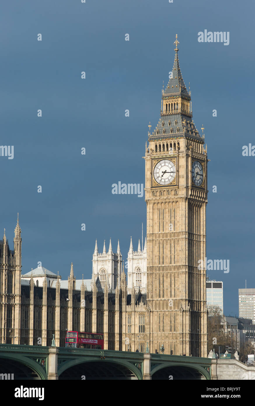 Big Ben clock tower (Elizabeth Tower) and double-decker bus on the Westminster Bridge in London, England, UK. - Stock Image