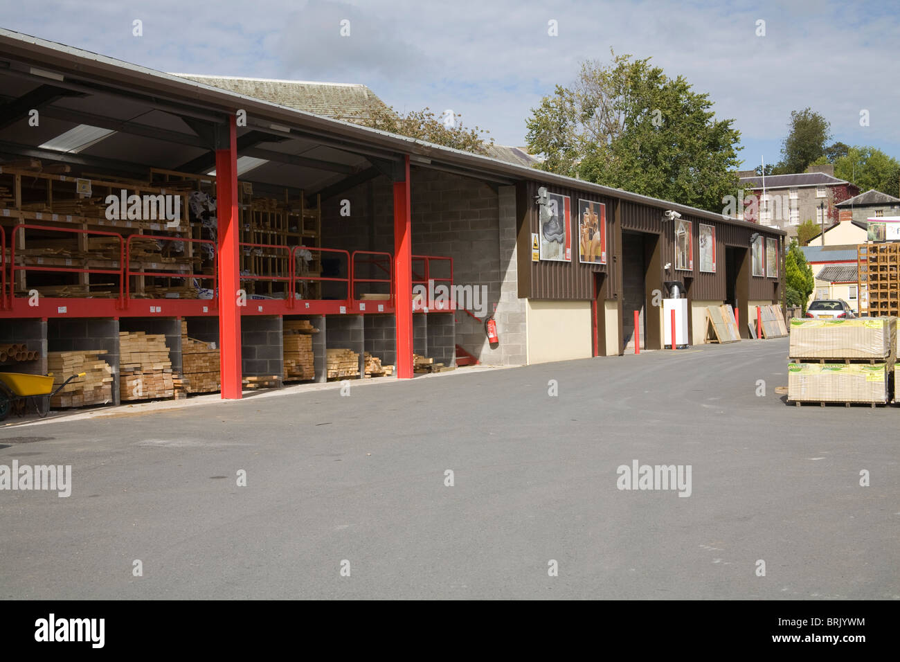 Powys Wales UK Premises of a timber merchant - Stock Image