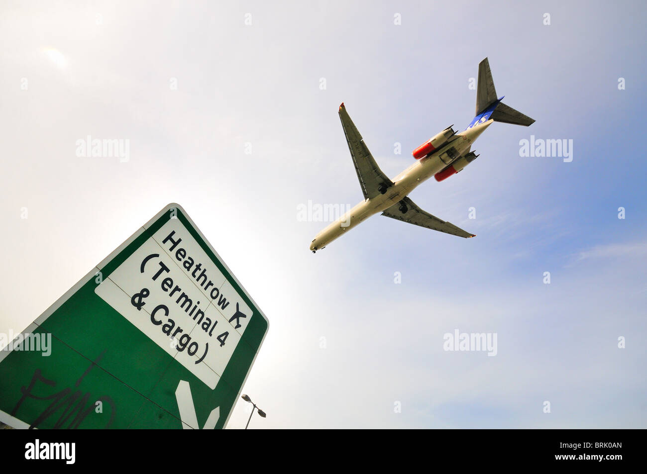 Low flying passenger aircraft  landing at Heathrow  airport, London Stock Photo