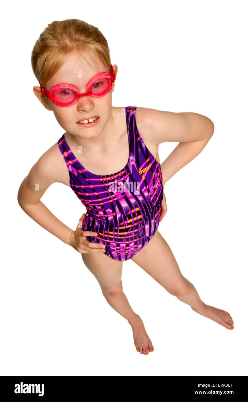 Young Pretty Blond Caucasian Girl In Her Swimming Costume And