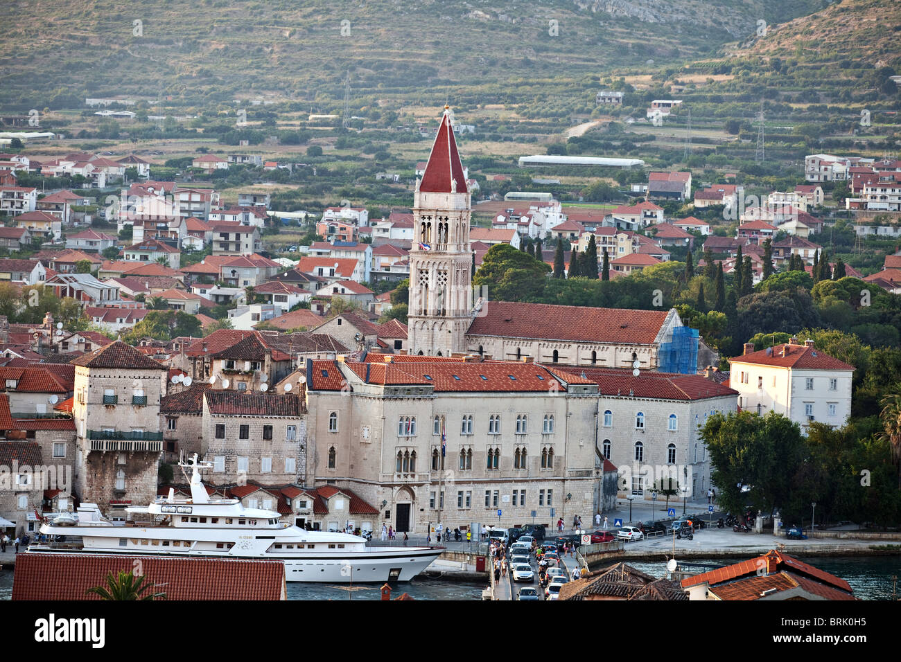 Old town of Trogir Cathedral of St. Lawrence in the middle, Dalmatian coast, Croatia Stock Photo