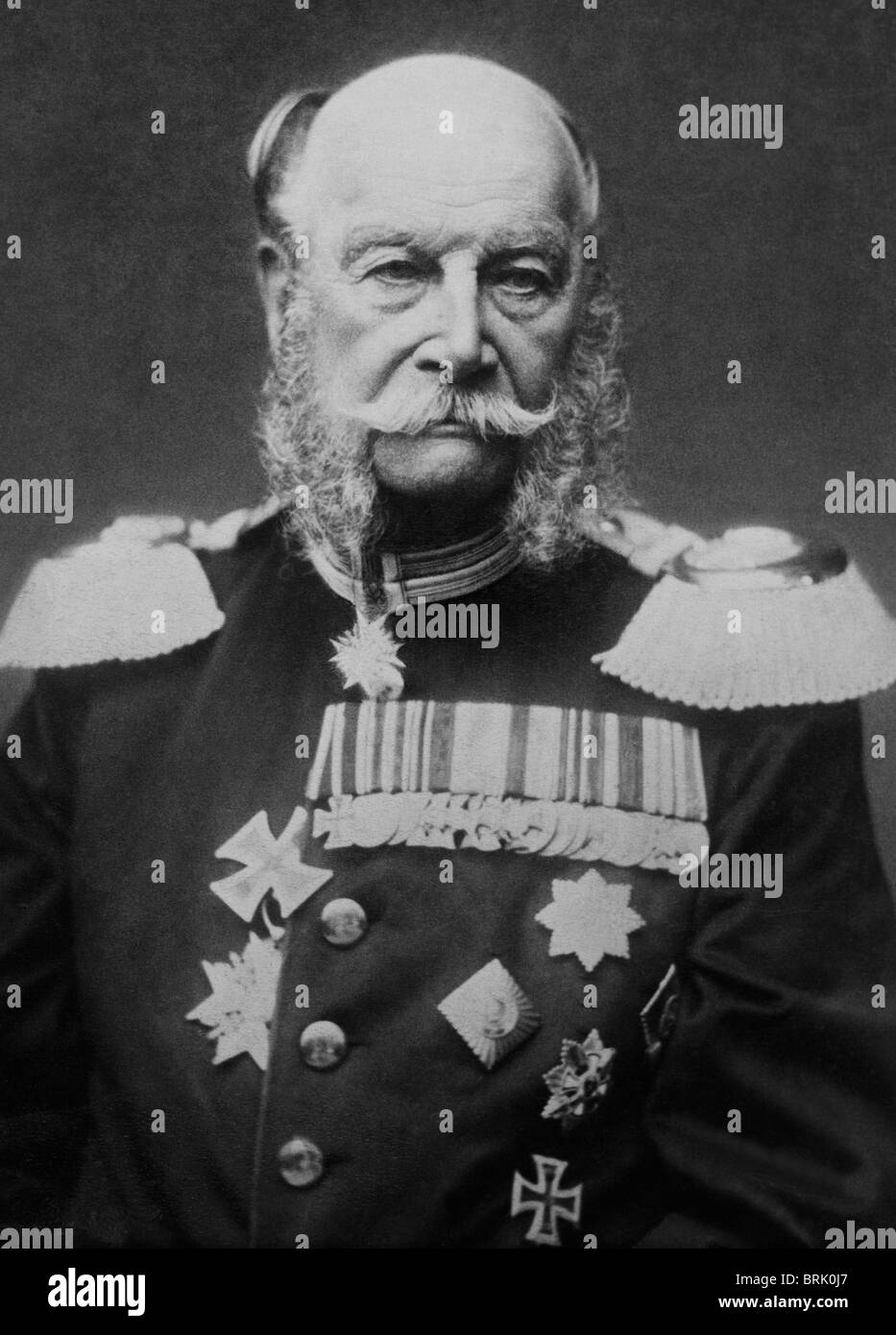 Portrait photo c1884 of Wilhelm I (aka William I) - King of Prussia (1861 - 1888) + the first German Emperor (1871 - Stock Image