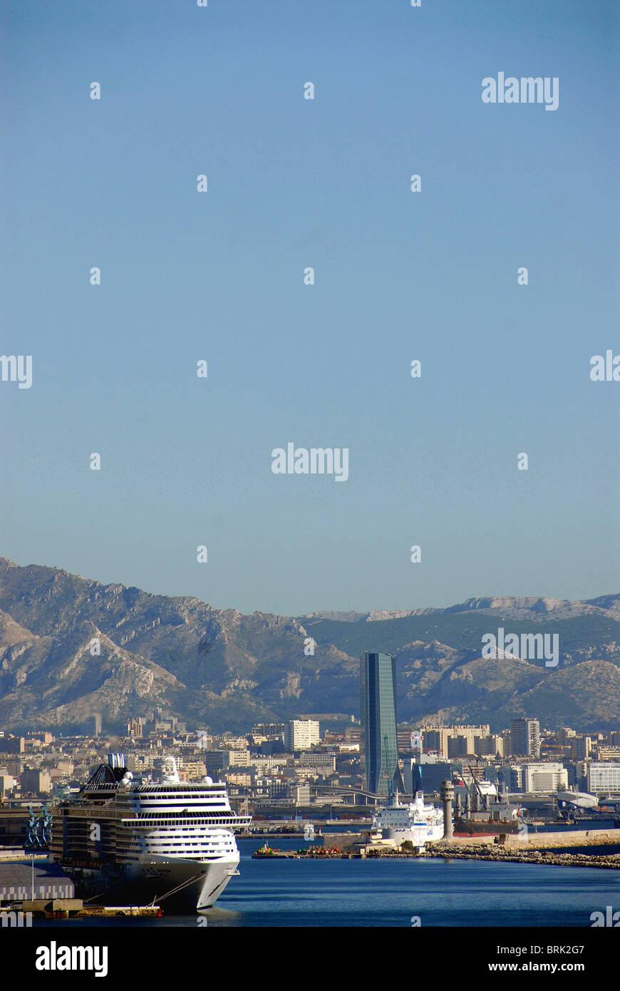 Joliette port and CMA-CGM tower, Marseille - Stock Image