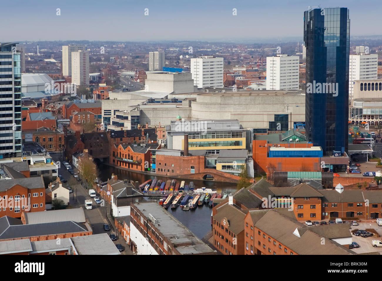 Broad Street, Gas St Basin, canal network, Hyatt hotel skyline of Birmingham, West Midlands, England, UK - Stock Image