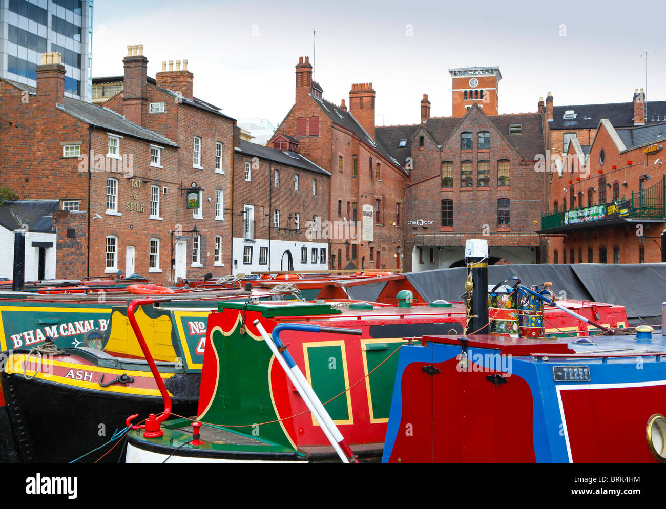 Gas Street Basin canal network in Birmingham, West Midlands, England, UK Stock Photo