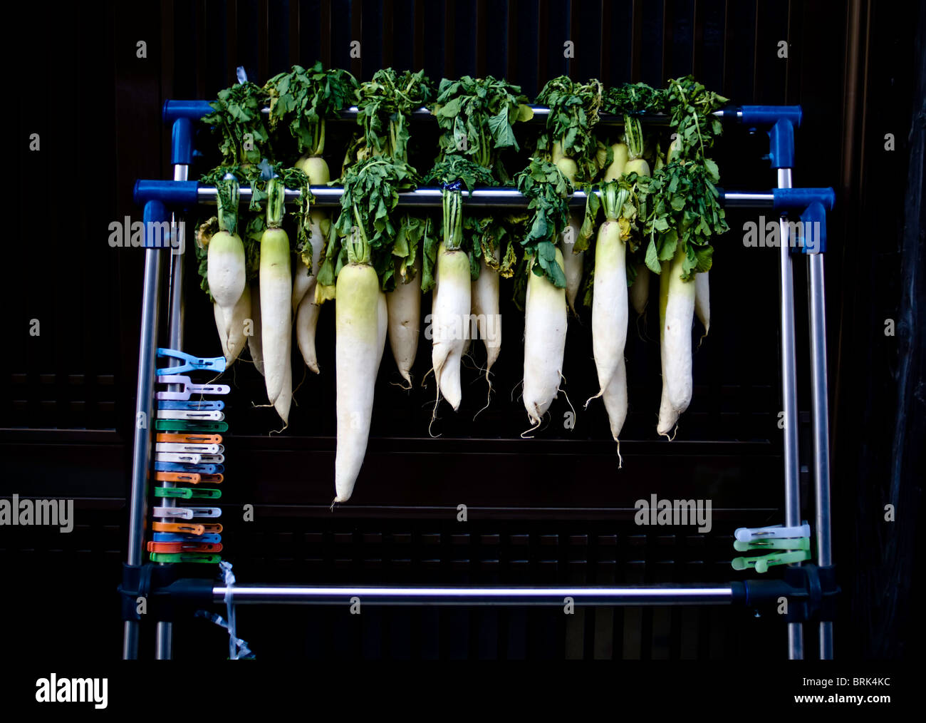 A rack of Japanese daikon hanging out to dry - Stock Image