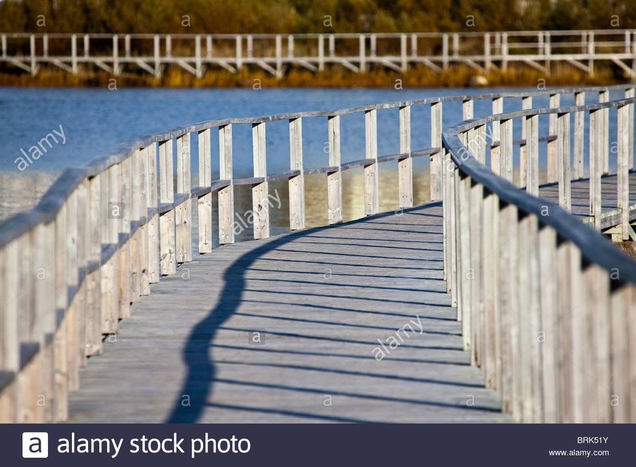 The boardwalk around Old Day's Pond in the historic port of Bonavista. Stock Photo
