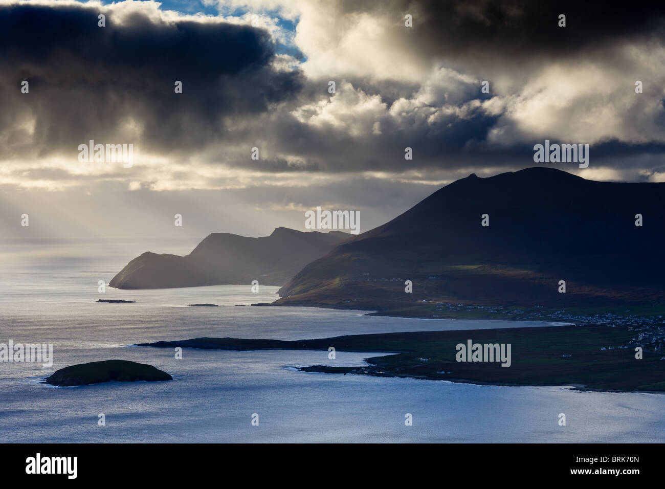 An Atlantic storm approaches the west of Achill Island, County, Mayo, Ireland - Stock Image
