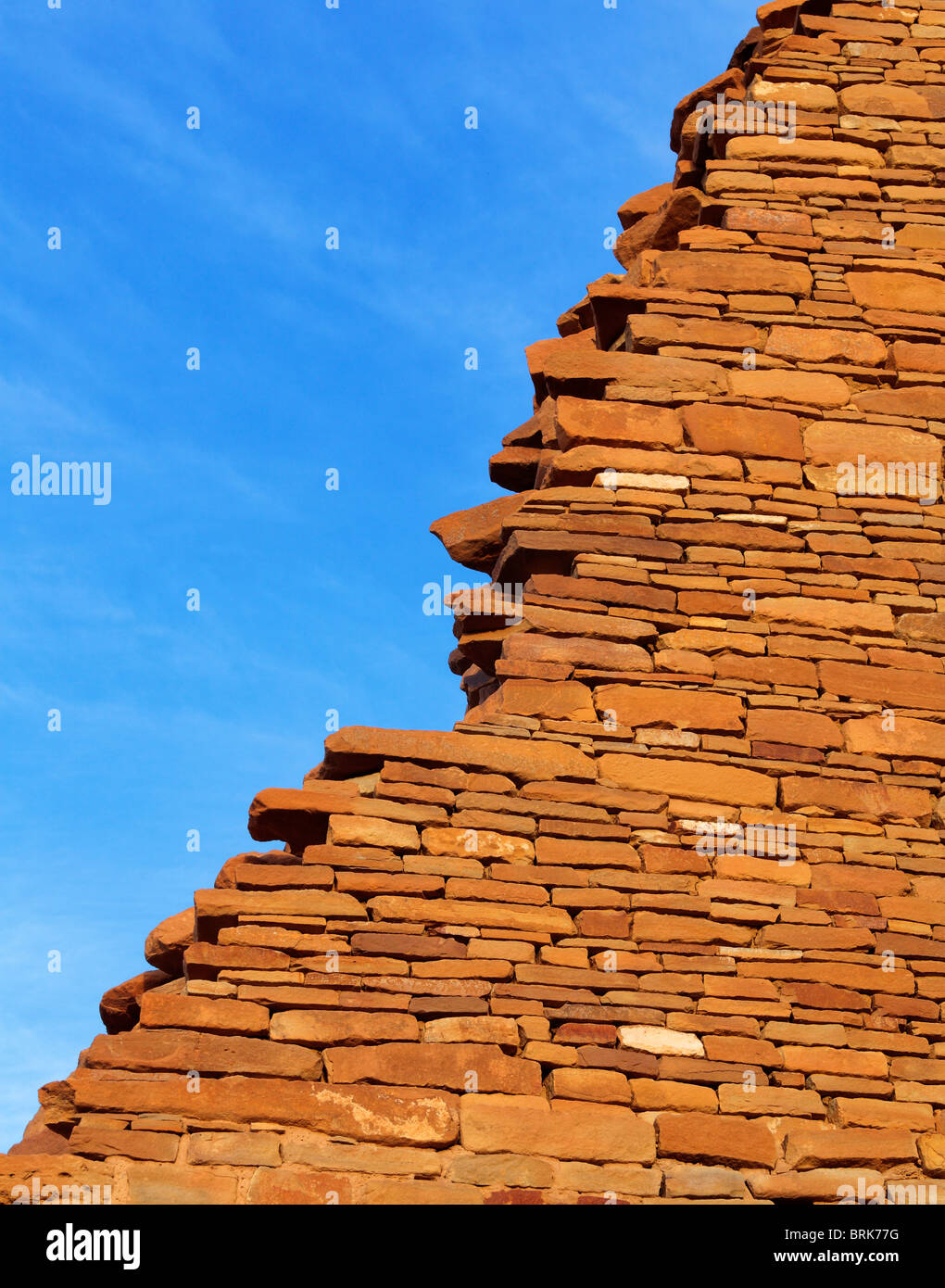 Wall detail in the ancient Pueblo Bonito village in Chaco Canyon, New Mexico, USA - Stock Image