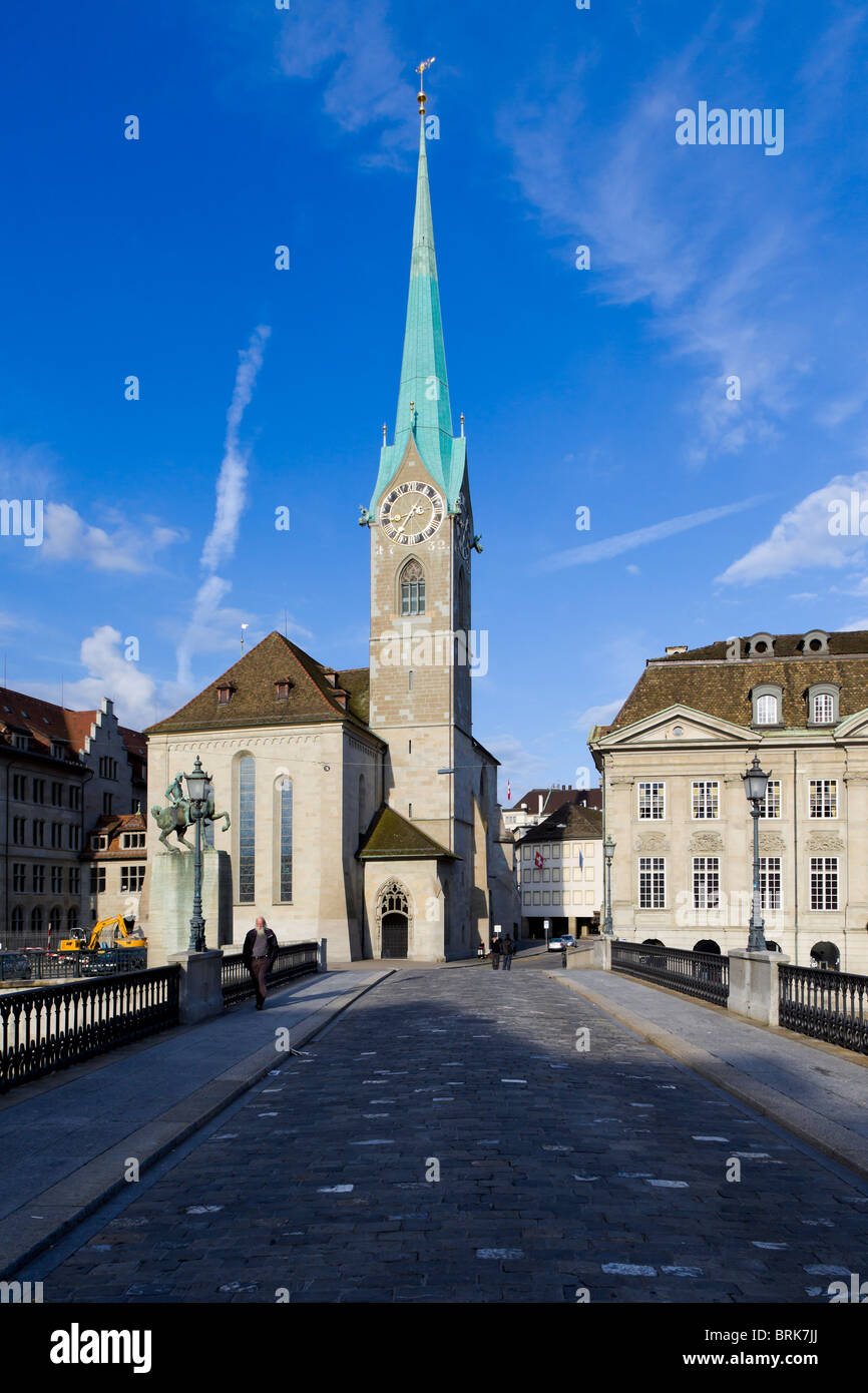 Fraumunster Abbey Zurich on a sunny sumer morning. - Stock Image