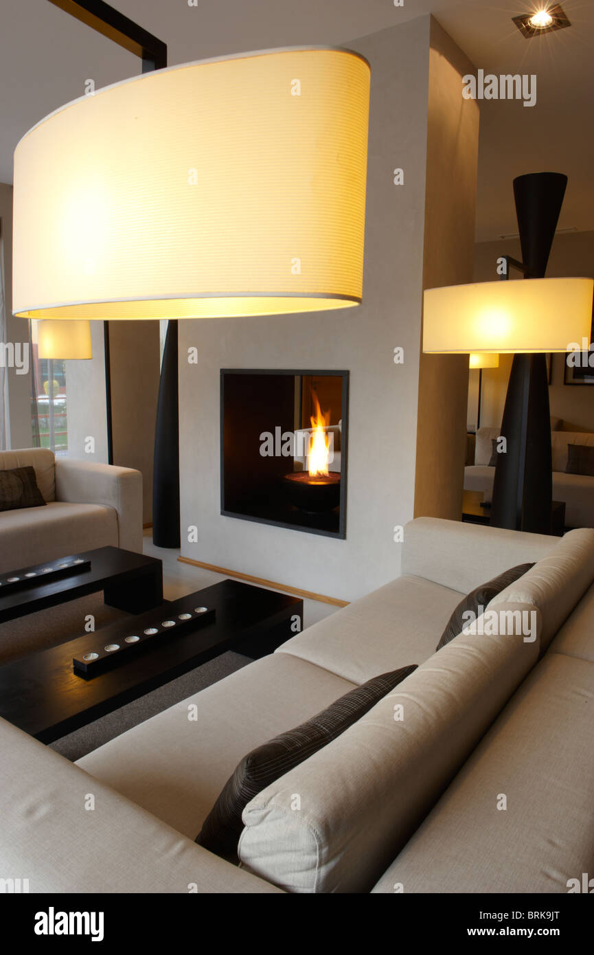 Living room with modern interior design and fireplace - Stock Image