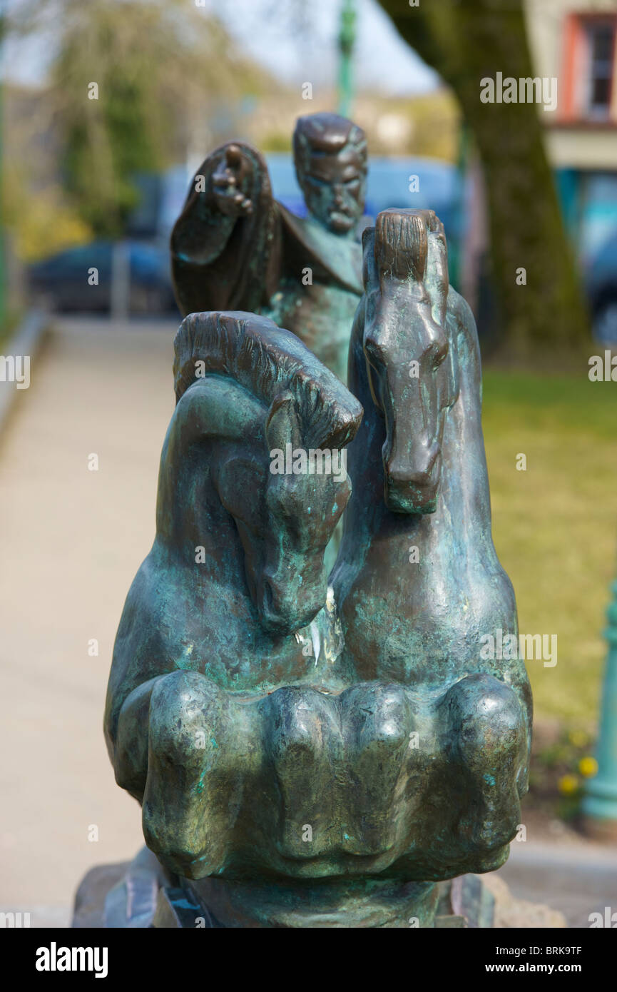 A sculpture by Peter Grant which depicts Manannan Mac Lir, 'The Sea God' in the Mall, Castlebar, Co. Mayo, - Stock Image