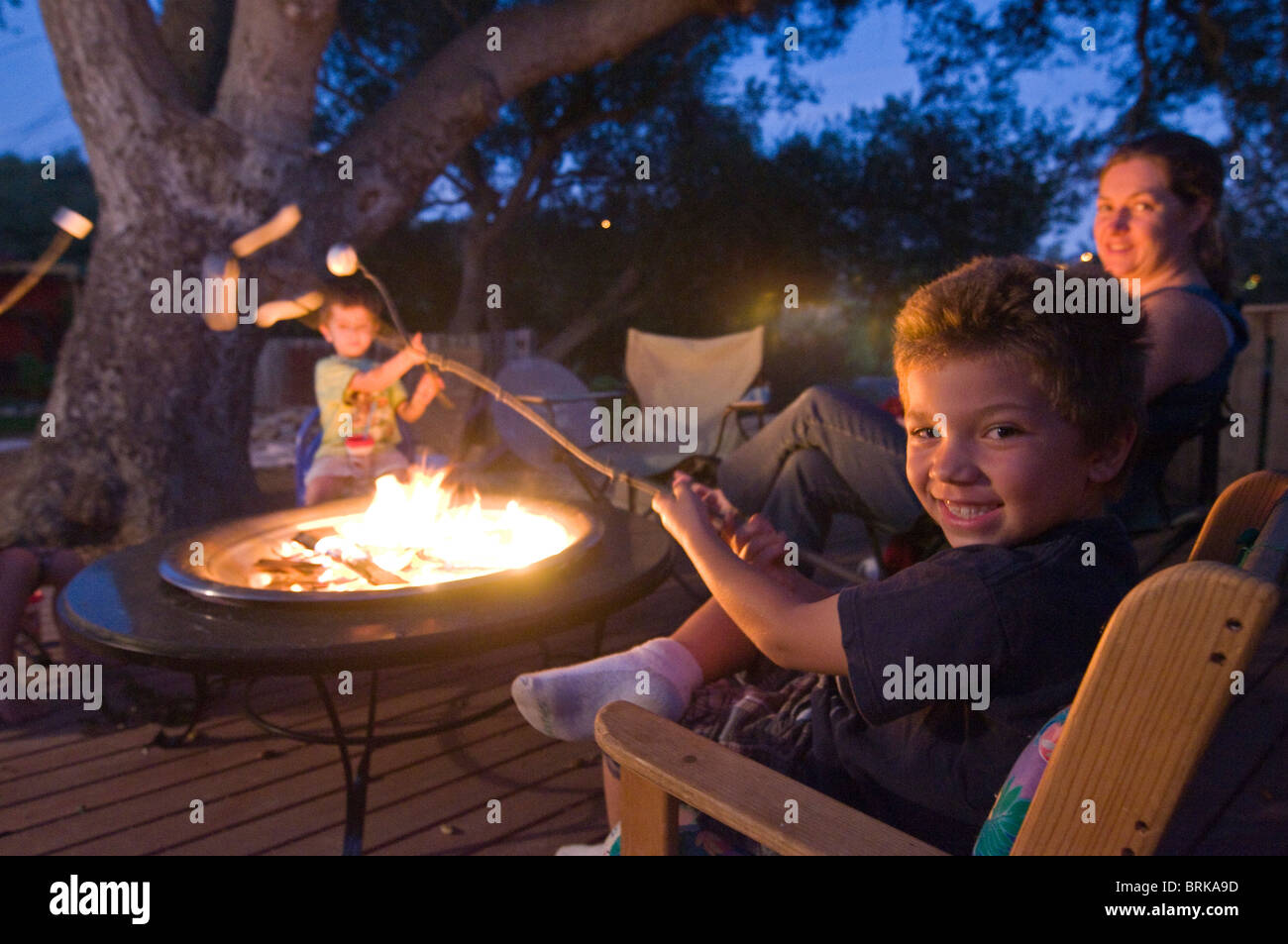 A Family Toasting Marshmallows Over Fire In Their Backyard
