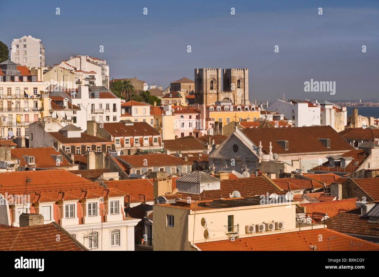 City view to Sé cathedral Lisbon Portugal - Stock Image