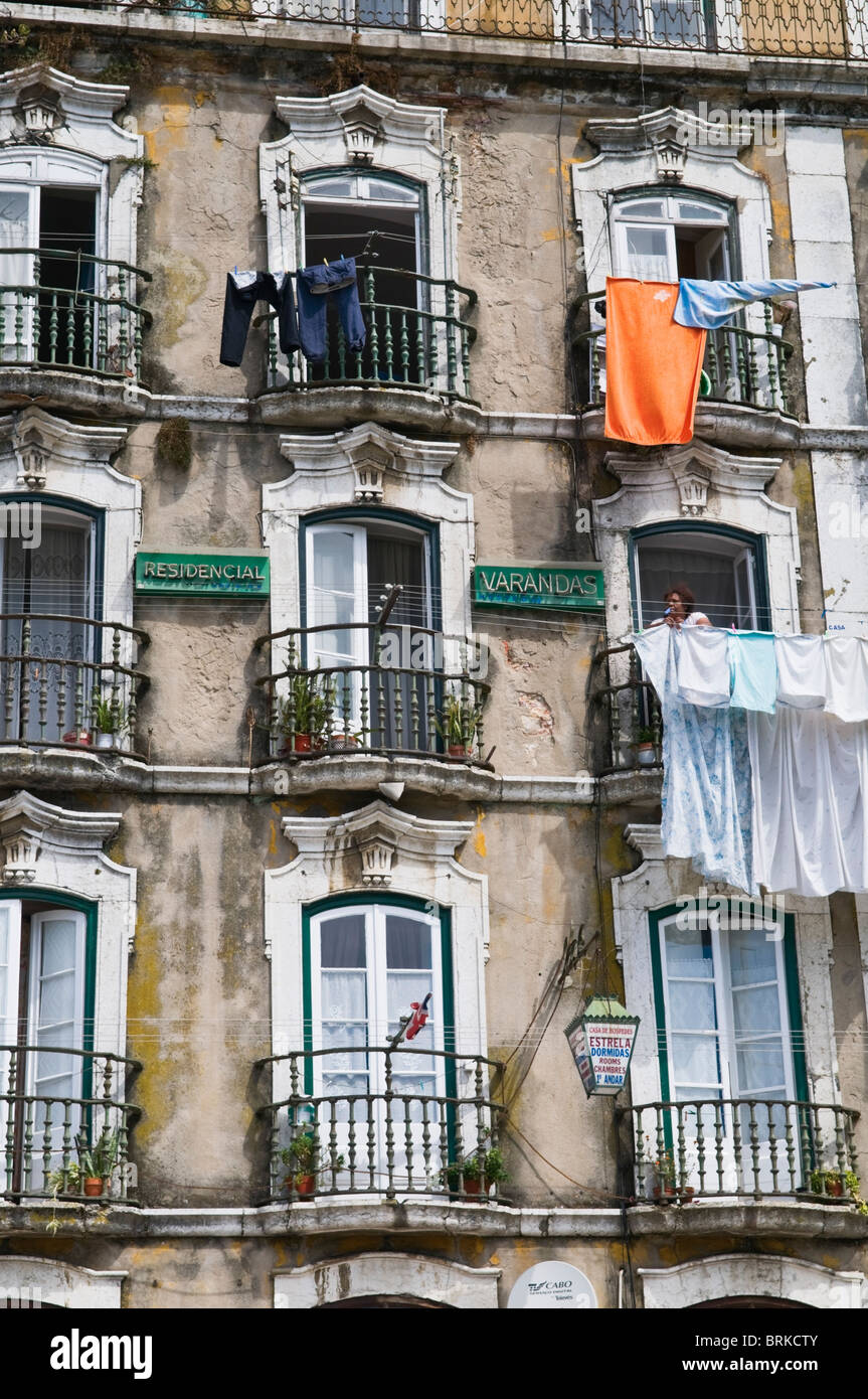 Old house facade Alfama Lisbon Portugal - Stock Image