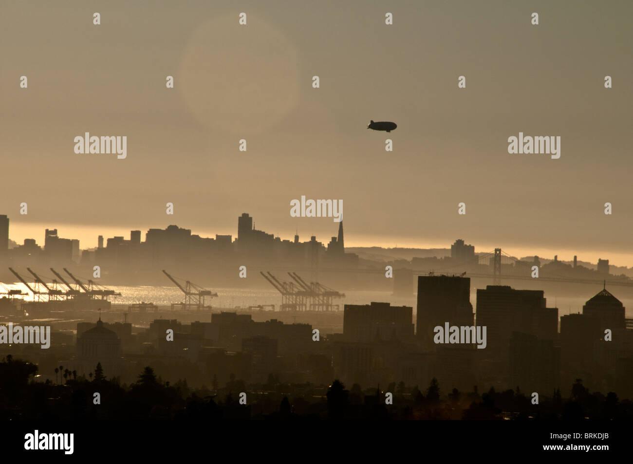 Blimp over San Francisco - Stock Image