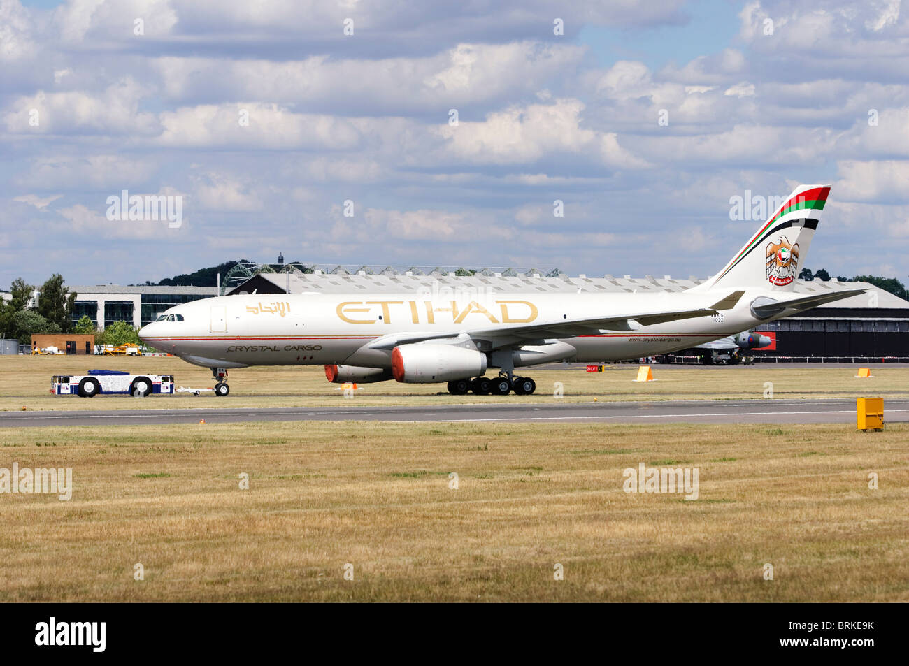 Airbus A330-243F operated by Etihad Crystal Cargo at Farnborough Airshow, UK. - Stock Image