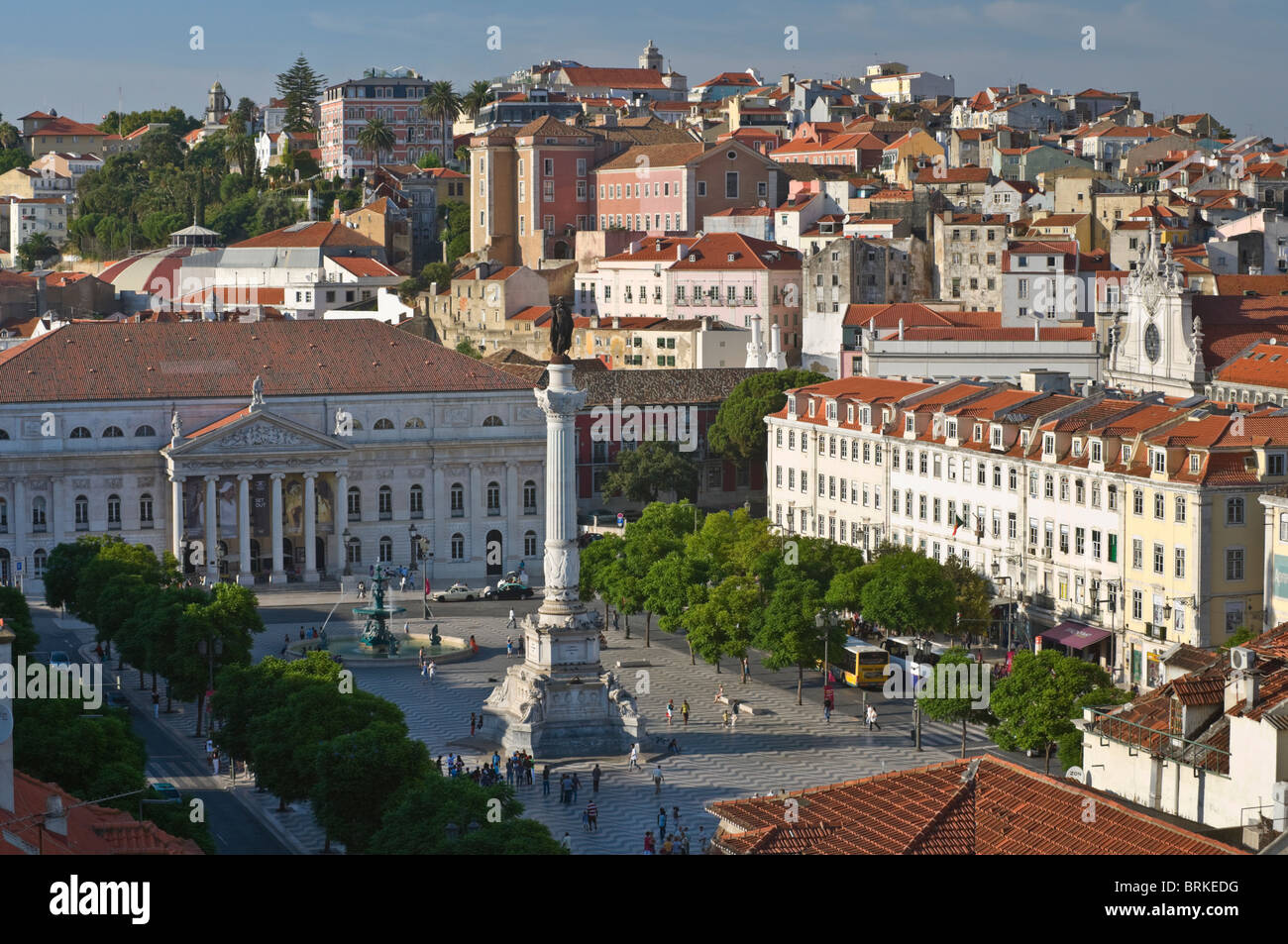 Aerial view to Rossio square Lisbon Portugal Stock Photo