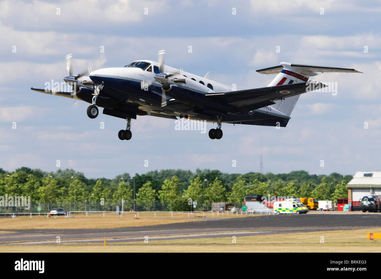 Beechcraft/Raytheon B200 King Air operated by the RAF taking off at Farnborough Airshow, UK. - Stock Image
