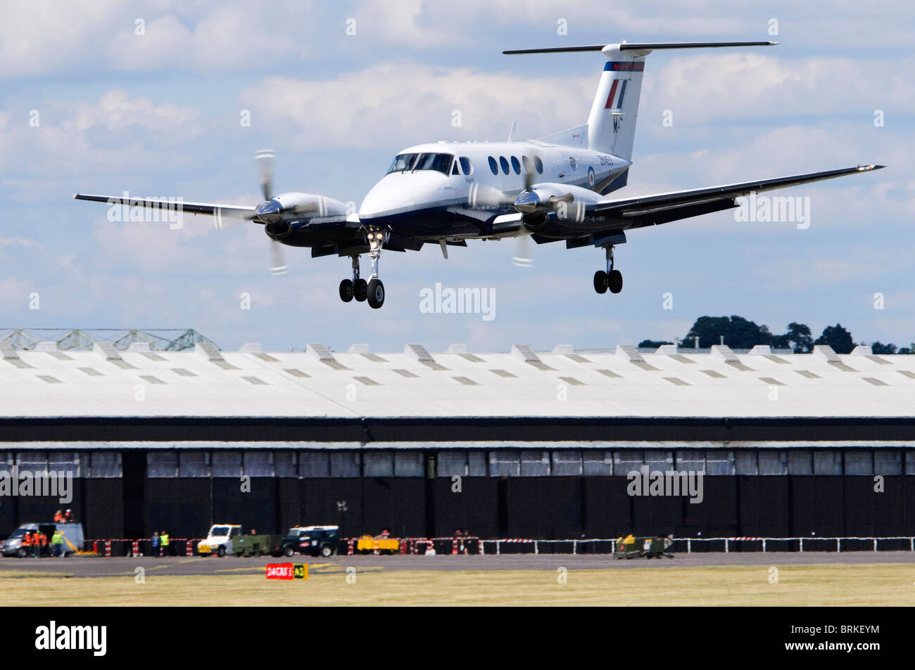 Beechcraft/Raytheon B200 King Air operated by the RAF on approach for landing at Farnborough Airshow, UK. - Stock Image