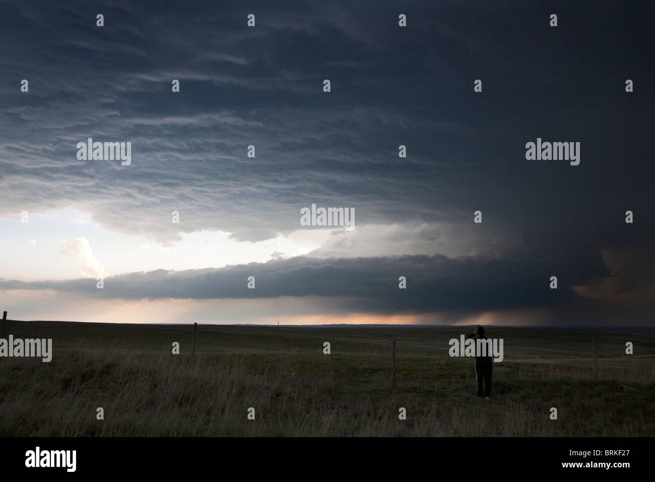 A supercellular thunderstorm in rural Wyoming, May 21, 2010. - Stock Image