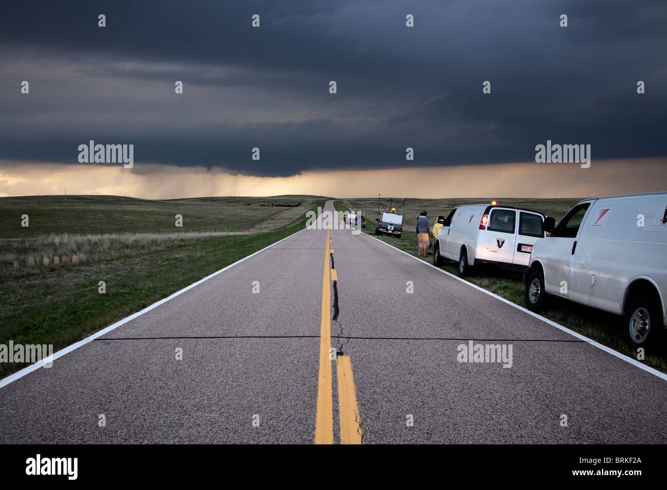 Tornado chasers and scientists participating in Project Vortex 2 in rural Wyoming, May 21, 2010. - Stock Image