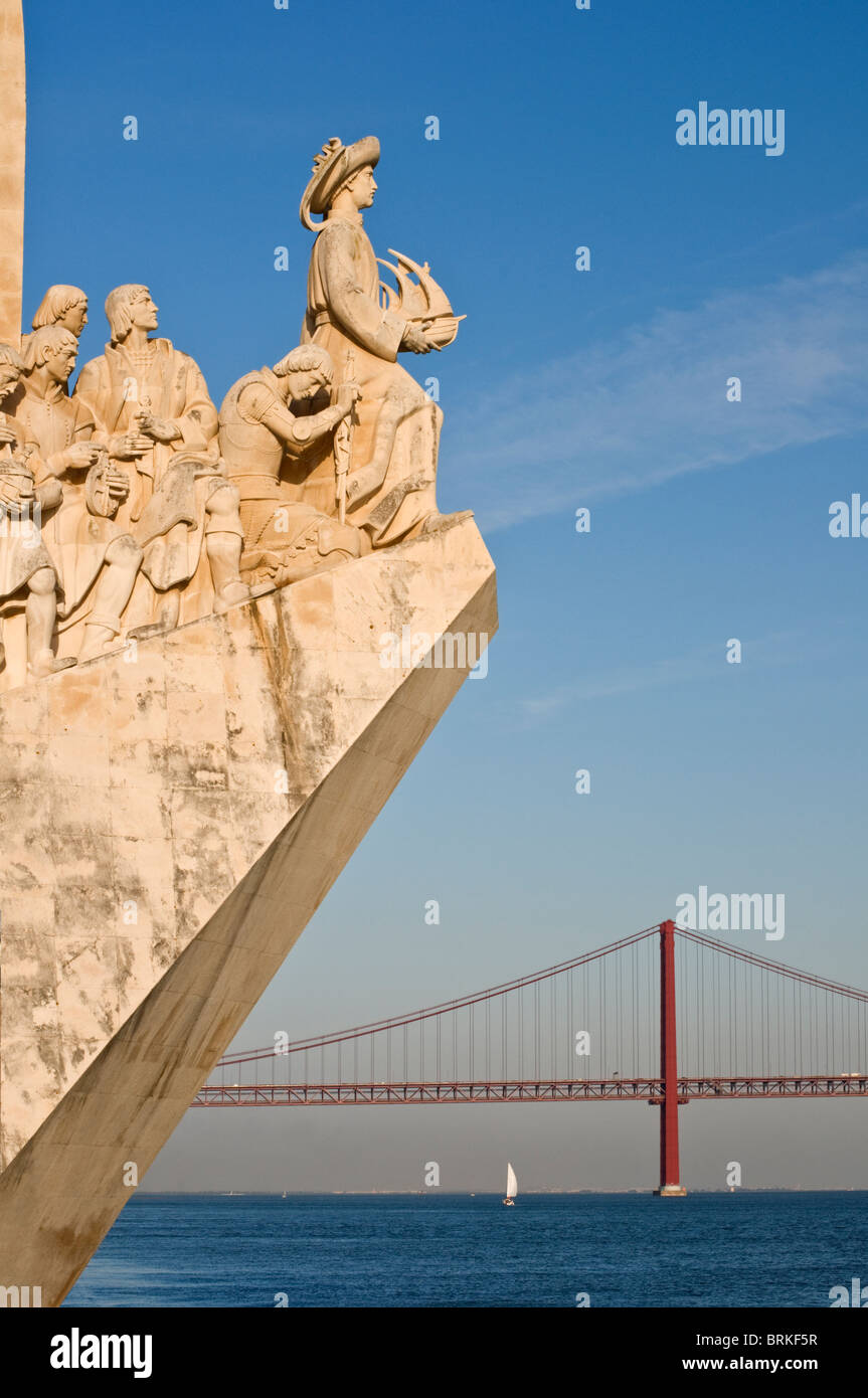 Monument to the Discoveries and 25 April Bridge Belem Lisbon Portugal - Stock Image
