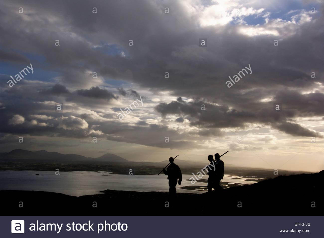 Pilgrims on the sacred mountain of Croagh Patrick - Stock Image