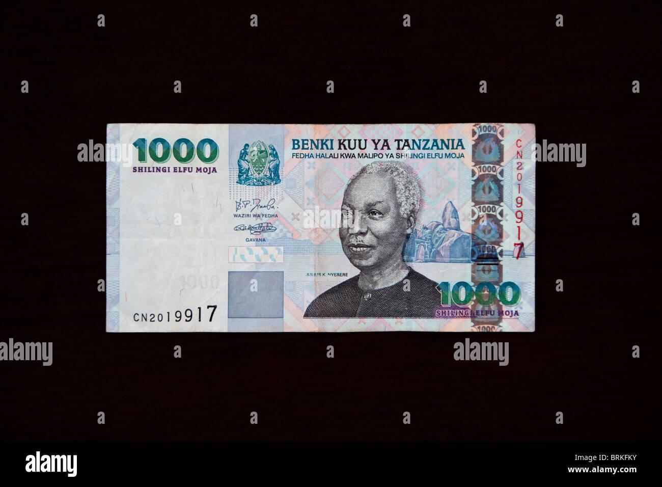 Zanzibar, Tanzania. Tanzanian Banknote. 1000 Shillings, front. Julius Nyerere. - Stock Image