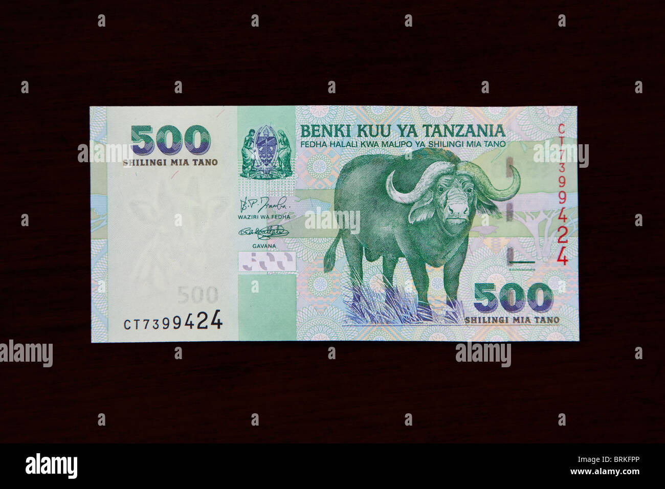 Tanzanian Banknote. 500 Shillings, African buffalo on front. - Stock Image