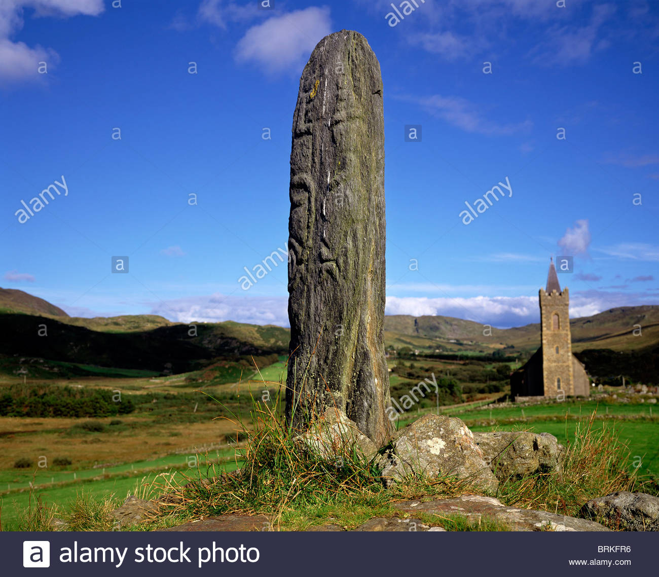 Standing Stone at Glencolumbkille, County Donegal, Ireland - Stock Image