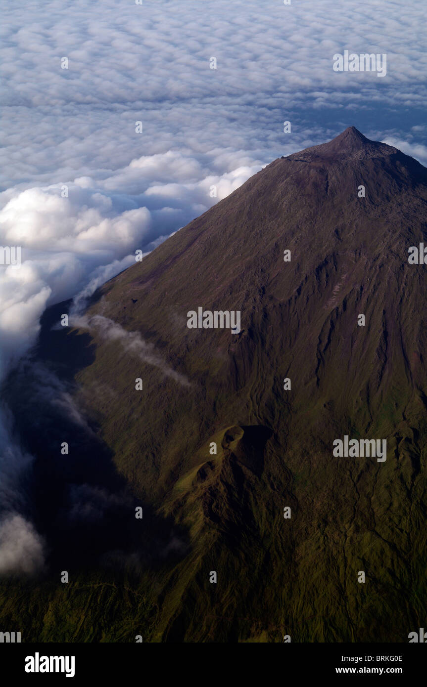 Air view from the Pico Mountain with the two lava tube showing (highest place in Portugal) in the Pico Island, in - Stock Image