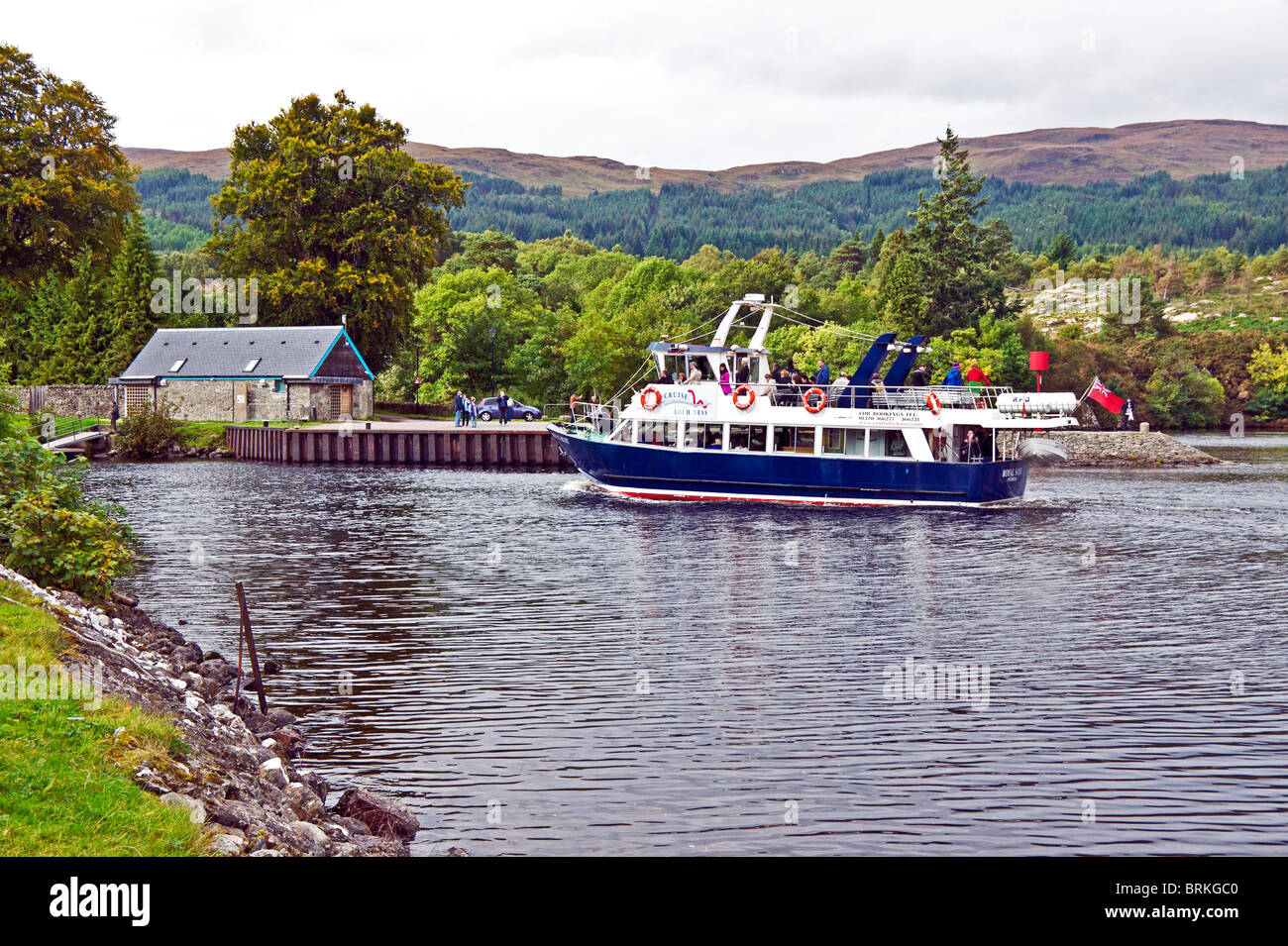 Cruise vessel Royal Scot returning to Fort Augustus in Scotland from a cruise on Loch Ness - Stock Image