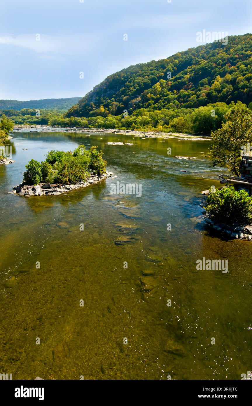 The confluence of the Potomac and Shenandoah Rivers at Harpers Ferry, West Virginia - Stock Image