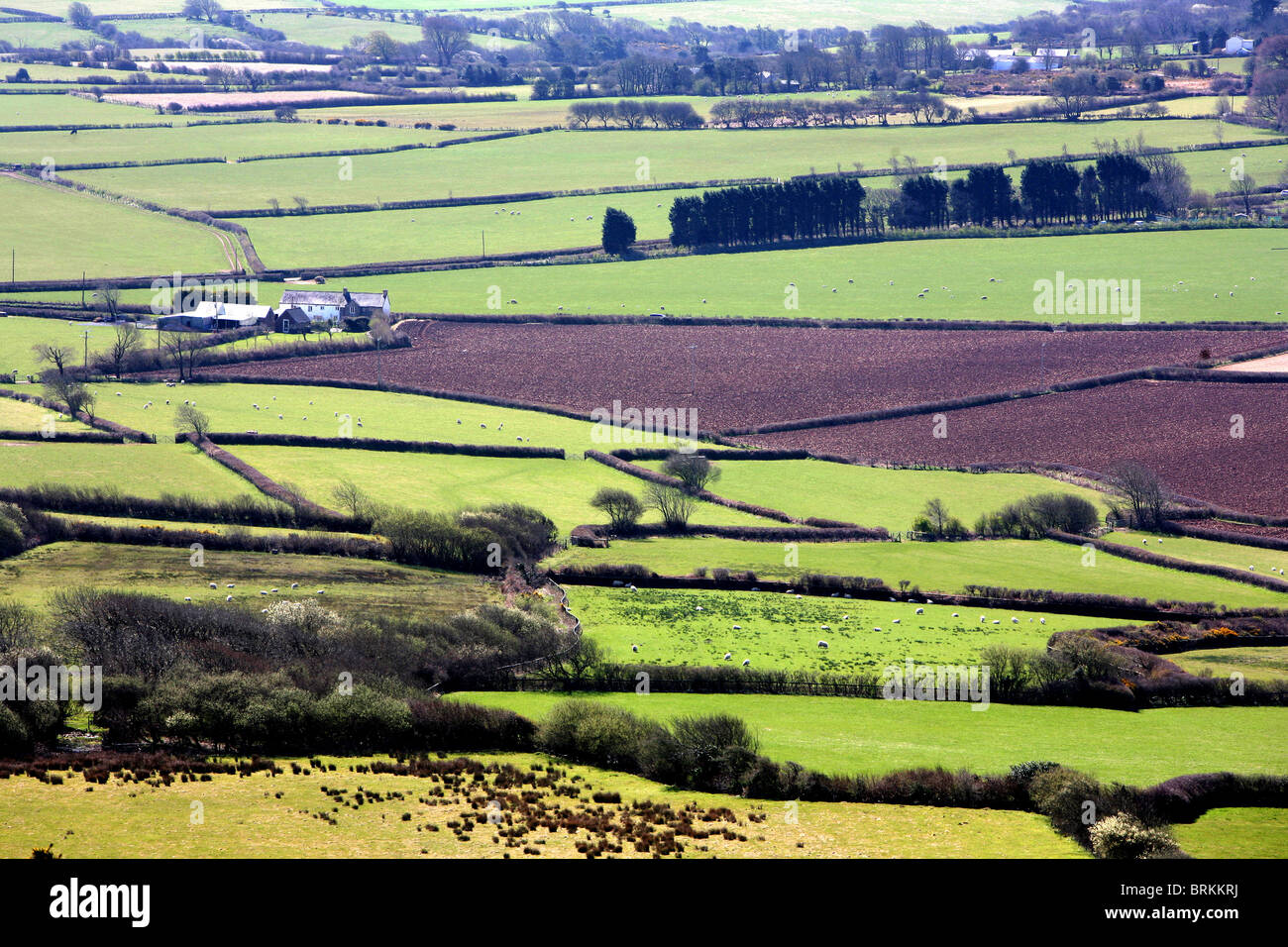The View South from Llanmadoc Hill North Gower Peninsula City and County of Swansea Wales UK - Stock Image