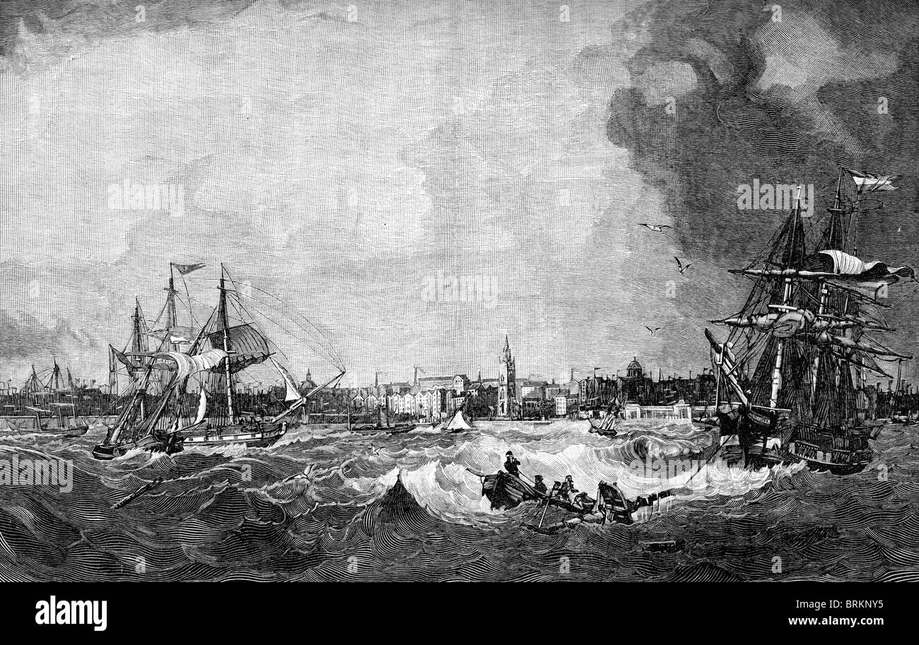 Vintage engraving of Liverpool in 1836 from a painting by S Walters - Stock Image