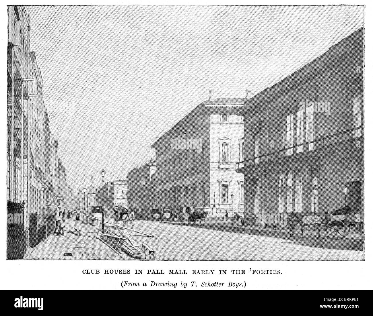 Club Houses in Pall Mall, London in the early 1840s. Pall Mall is best known for being the home to various gentlemen's - Stock Image