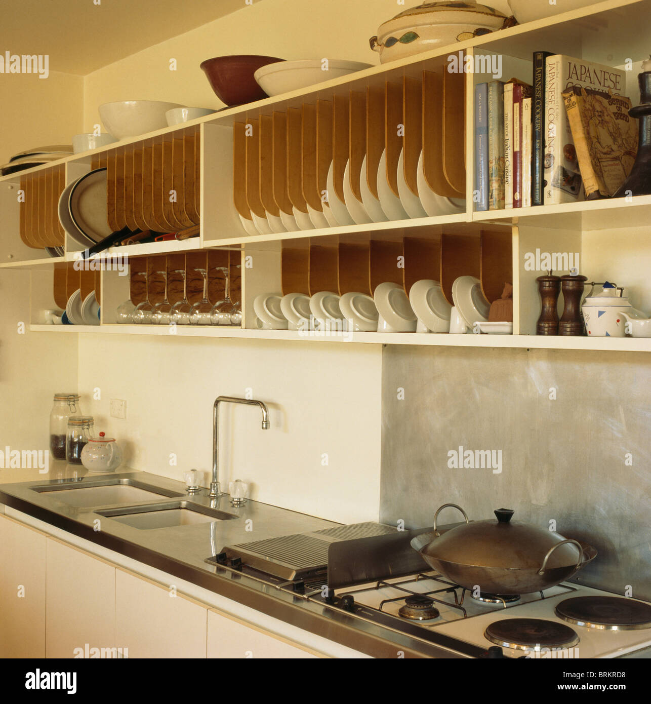 Modern Kitchen Plates: Fitted Wooden Plate Racks In Shelving Above Sink And Gas