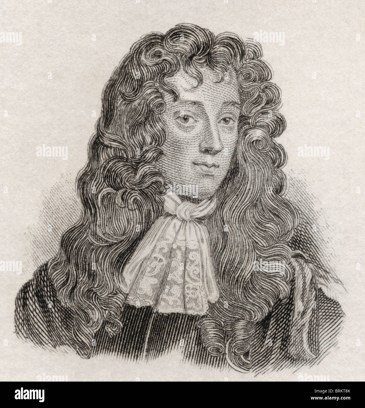 John Wilmot, 2nd Earl of Rochester, 1647 to 1680. English Libertine poet, writer of satirical and bawdy poetry. - Stock Image