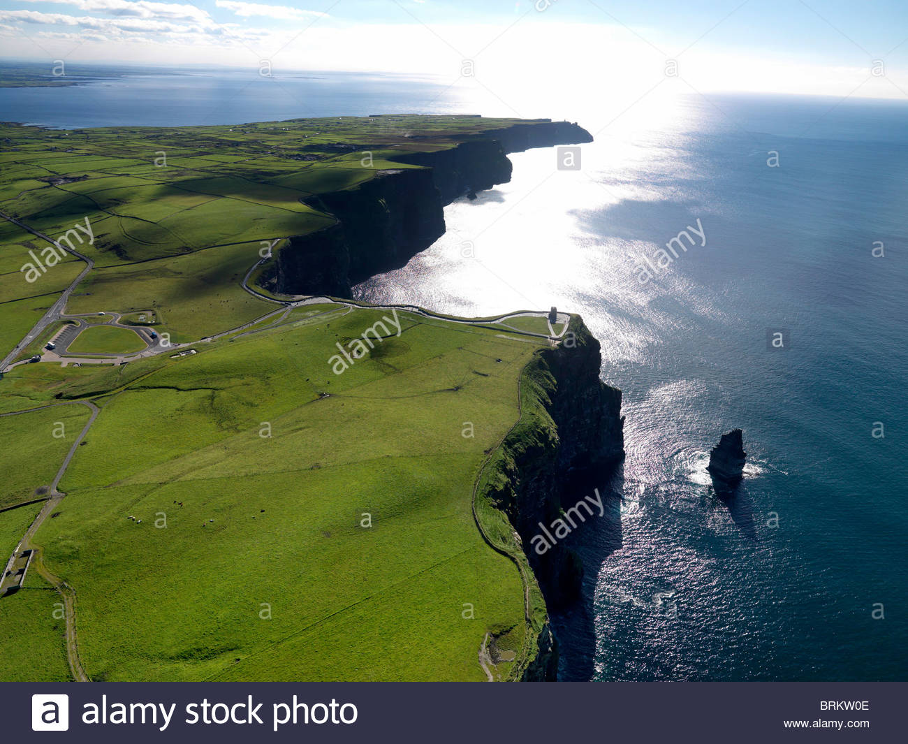 Aerial view of the Cliffs of Moher on the West coast of Ireland - Stock Image