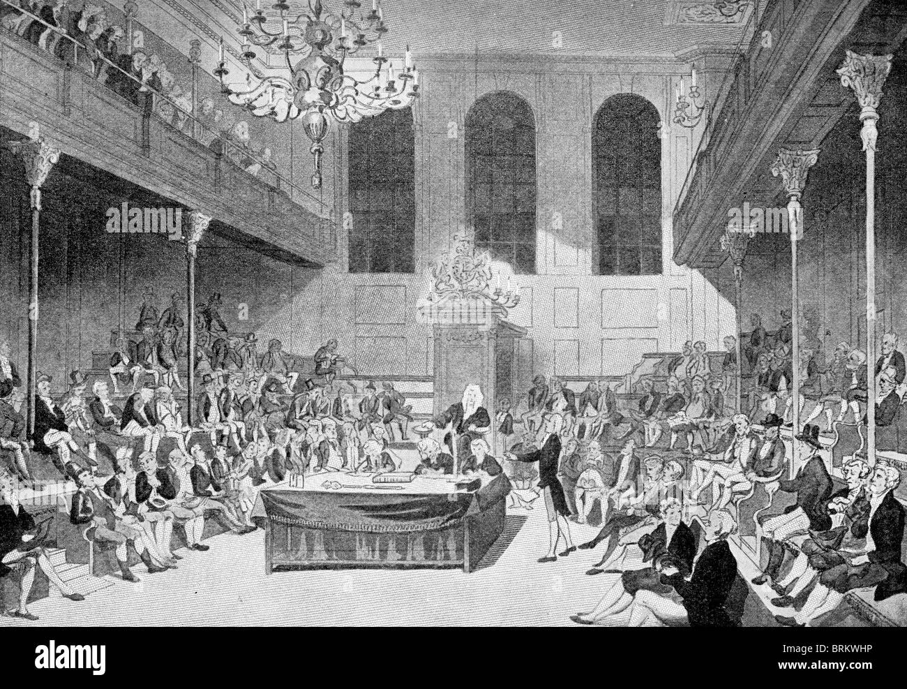 The Old House of Commons which was destroyed by fire in 1834. - Stock Image