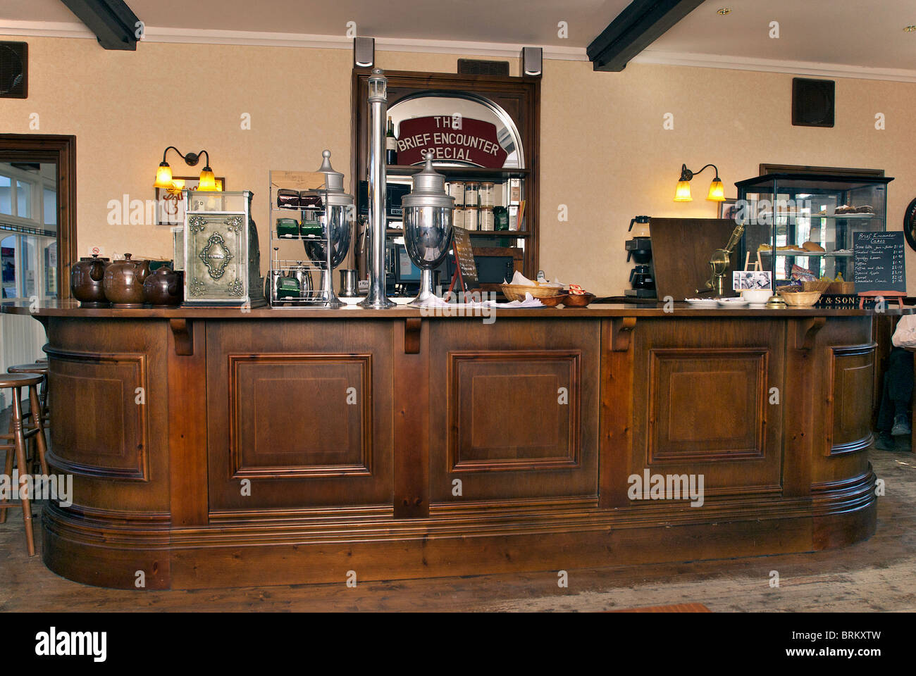The Brief Encounter Special cafe bar at Carnforth station near Lancaster. Film Stock Photo