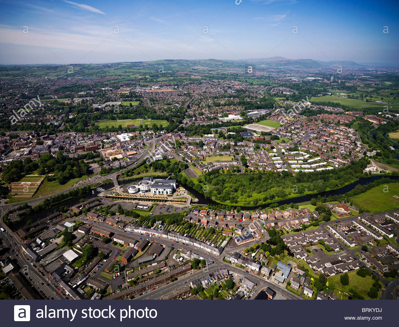 Aerial view of the city of Lisburn and the Island Civic Centre - Stock Image