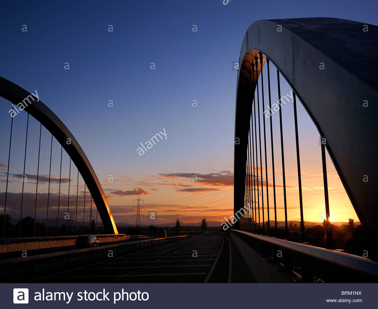 Toome Bridge at sunset. - Stock Image