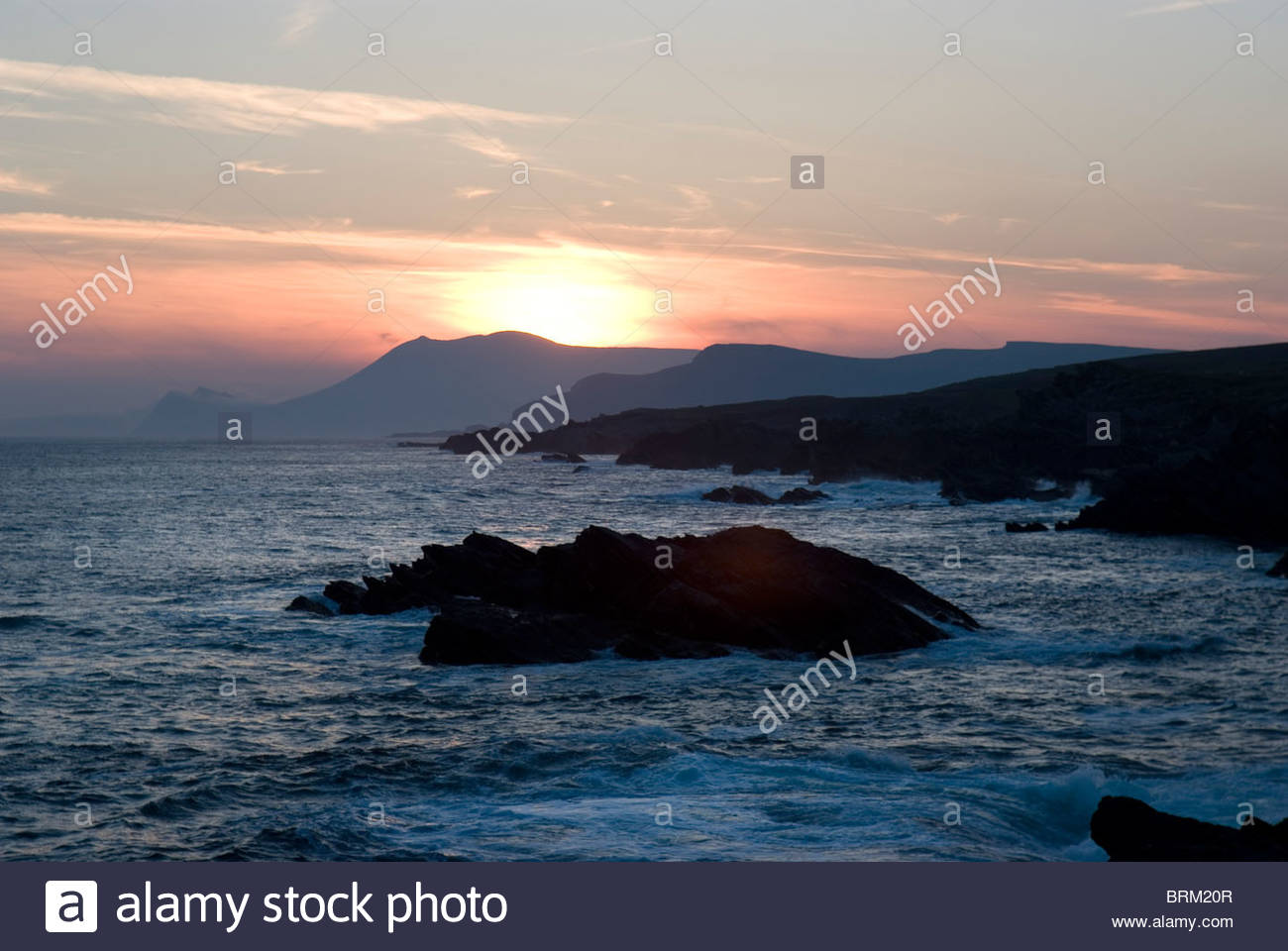 Sunset on Achill's Atlantic Drive on the west coast of Ireland. - Stock Image